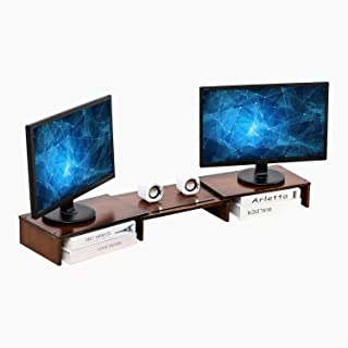 HUVIBE Bamboo Dual Monitor Stand Riser with Length and Angle Adjustable, 3 Shelf Multifunctional Screen Desktop Organizer for Laptop Computer, TV, PC, Printer, Multi Media Speaker-Walnut Brown