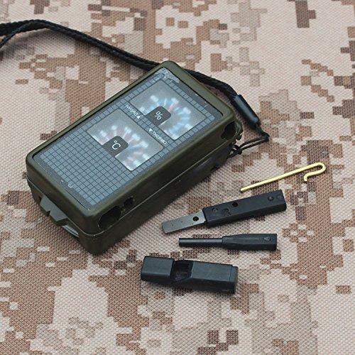 10 in 1 multi-funzioni di bussola con fischio luce Led lente d'ingrandimento termometro igrometro