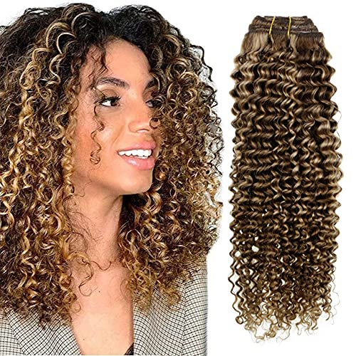 Hetto Curly Human Hair Clip in Extensions Brown Highlighted Blonde Clip in Hair Extensions Real Human Hair 100g 7Pcs Double Weft Tight Curly Clip in Extensions 16 Inch