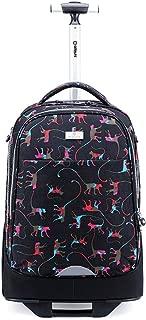 Portable Shoulder Travel Trolley Bag, Roller Trolley Student Backpack, Luggage Handbag Storage Bag (Color : Black, Size : 18 inches)
