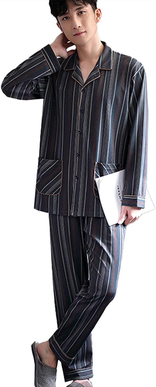 FMOGG Men's Pajama Set Long Sleeve Striped Sleepwear Lightweight Button Down Tops and Pants/Bottoms Classi Ccotton Loungewear Set Autumn and Winter M-3Xl