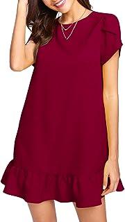 Unibelle - Vestito da donna per il tempo libero, con volant e scollo rotondo, mini abito da donna a maniche corte con peta...