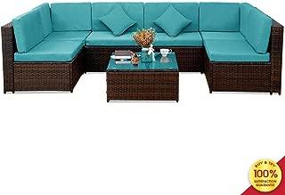Patio PE Rattan Sectional Garden Furniture Corner Sofa Set (7 Pieces, Blue)