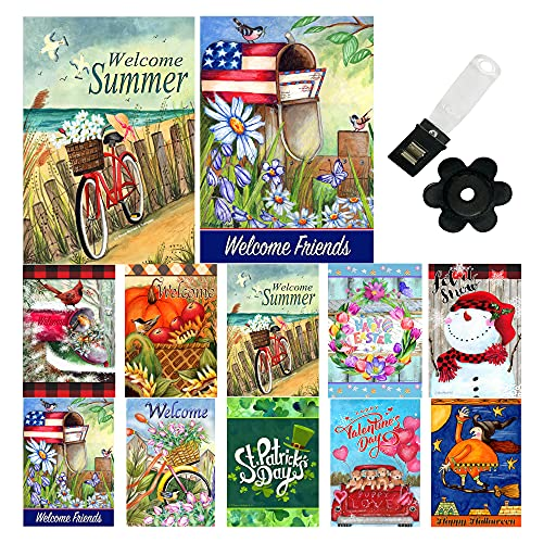 Seasonal Garden Flag (Set of 10) 12x18 Inch Double Sided Garden Flags For Outside with Anti-Wind Clip and Stopper Outdoor Holiday Yard Flag Spring Summer Fall Winter Lawn Banners