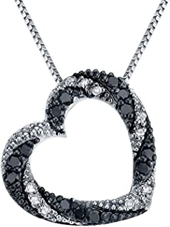 White and Enhanced Black Diamond Heart Pendant Necklace 1/4 Carat (ctw I3, Single Cut) in Sterling Silver