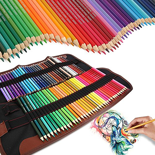 Iyowin ®Matite Colorate 72 Drawing Pencil Set, con Tela Caso Pastelli Matita Bag Roll-Up Canvas Matita Wrap , per adulti e bambini-72 colori con Pastelli Matita Bag