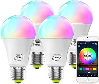 MagicLight A19 7W RGBCW Smart WiFi Light Lamp، 60w Equivalent Multicolor White Dimmable Control App لامپ LED هوشمند ، هیچ توپی مورد نیاز ، سازگار با دستیار Google Alexa - 4 بسته