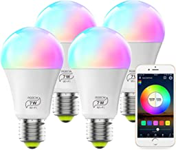 MagicLight Smart WiFi Bulb No Hub Required, Dimmable Multicolor E26 A19 7W (60w..