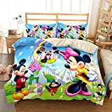Jacrarr Mickey Mouse Bedding Set Twin Size Girls Boys Cartoon Duvet Cover Mickey Minnie Wearing Fancy Clothes Pattern Comforter Cover 2Pc 1 Comforter Cover and 1 Pillow Cover NO Comforter