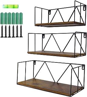 Amazon Brand - UMI Estantes flotantes de Madera rústica para baños dormitorios oficinas cocinas Set de 3