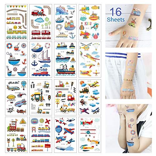 Keleily Temporäre Tätowierungen 16 Blatt Kinder Tattoo Aufkleber Haut Wasserfest für Arme, Beine, Rücken, Gesicht, Cartoon-Flugzeug, Boot, U-Boot, Zug
