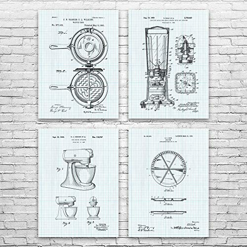 Cooking Patent Posters Set of 4, Food Lover Gift, Kitchen Decor, Cooking Gift, Diner Wall Art, Chef Gift, Culinary Gift