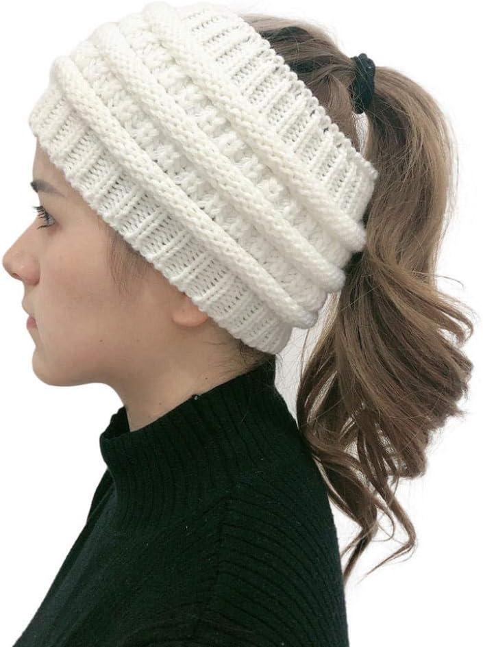 ZFCMIAO Women Outdoor Solid Splice Hats Crochet Knit Holey Beanie Cap Headband Winter Warmer Ear Knitted Headband Turban-White_as Shown