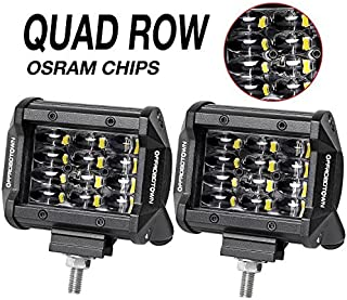 LED Pods, OFFROADTOWN 2pcs 4'' QUAD Row LED Light Bar OSRAM Work Light Flood Beam Off road Driving Light Waterproof Fog lights LED Cubes for Truck Jeep Boat Car