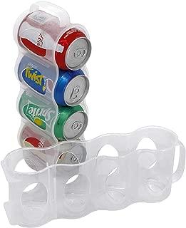 ChasBete Portable Soda Can Organizer for Refrigerator Shelf, Beer Can Holder, Fridge Storage Sliding Rack, Clear Plastic 2 Pack