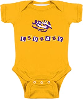 Two Feet Ahead LSU Tigers Blocks NCAA College Newborn Infant Baby Creeper