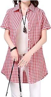 [エムエルーセ] ゆったり 清涼 半袖 チェック シャツ 襟付き ロング丈 夏 物 真夏2 カラー M - 3XL レディース