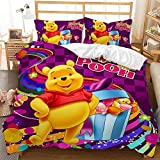 MIUNNG Duvet Cover Set 3D Winnie the Pooh Bedding Set 1 Duvet Cover + 1/2 Pillow Shams Set Single Bedding Set -Soft and Breathable (Winnie 7,Double)