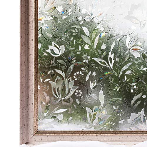 CottonColors Sichtschutzfolie, Milchglas-Aufkleber, statisch, selbstklebend, 3D-Blumen, Dekoration, Klammern (59,9 x 28,4 cm)