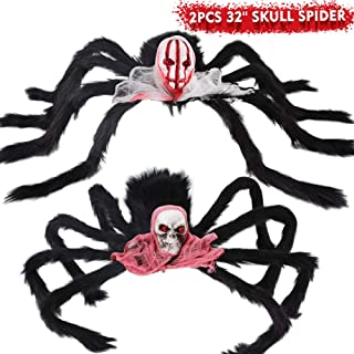 LUDILO Halloween Spider Decorations 2 Pack 32'' Giant Halloween Spider Skull Fake Spider Scary Halloween Decorations Indoor Outdoor Costume Party Decor Door Wall Garden Yard Patio Haunted House Décor