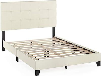 FURINNO Laval Button Tufted Upholstered Platform Bed - Full (Linen