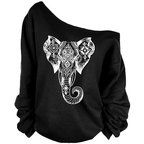 3c22c7c8e5e8 QZUnique Women s Digital Print Long Sleeve Strapless Pullover Fleece  Sweatshirt