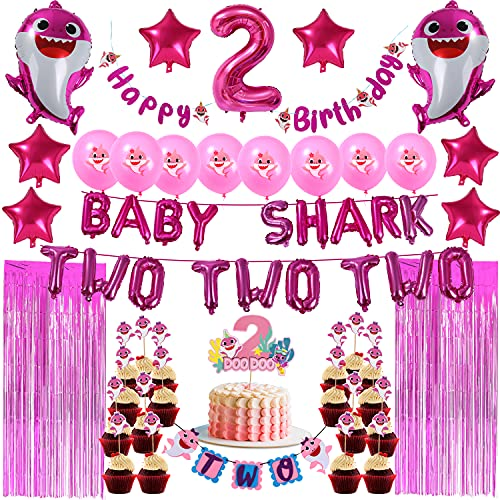 Pink Baby Shark 2nd Birthday Decoration for Girl - TWO TWO TWO Foil Balloons No. 2 DOO DOO Cake Topper Happy Birthday TWO Banner Shark Latex Balloon Cupcake Toppers Curtains For Baby Girls Second Bday