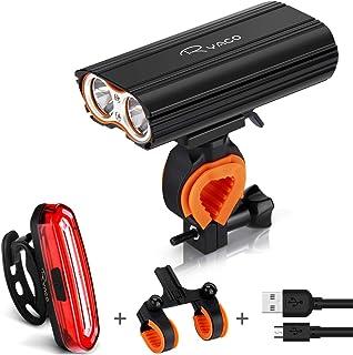 Fietsverlichting, Ryaco Usb Oplaadbare Fiets Koplamp Licht 2400 Lumen Koplamp Set Met 4400mah, 2x Led, 4 Modi, Ip65 Waterd...