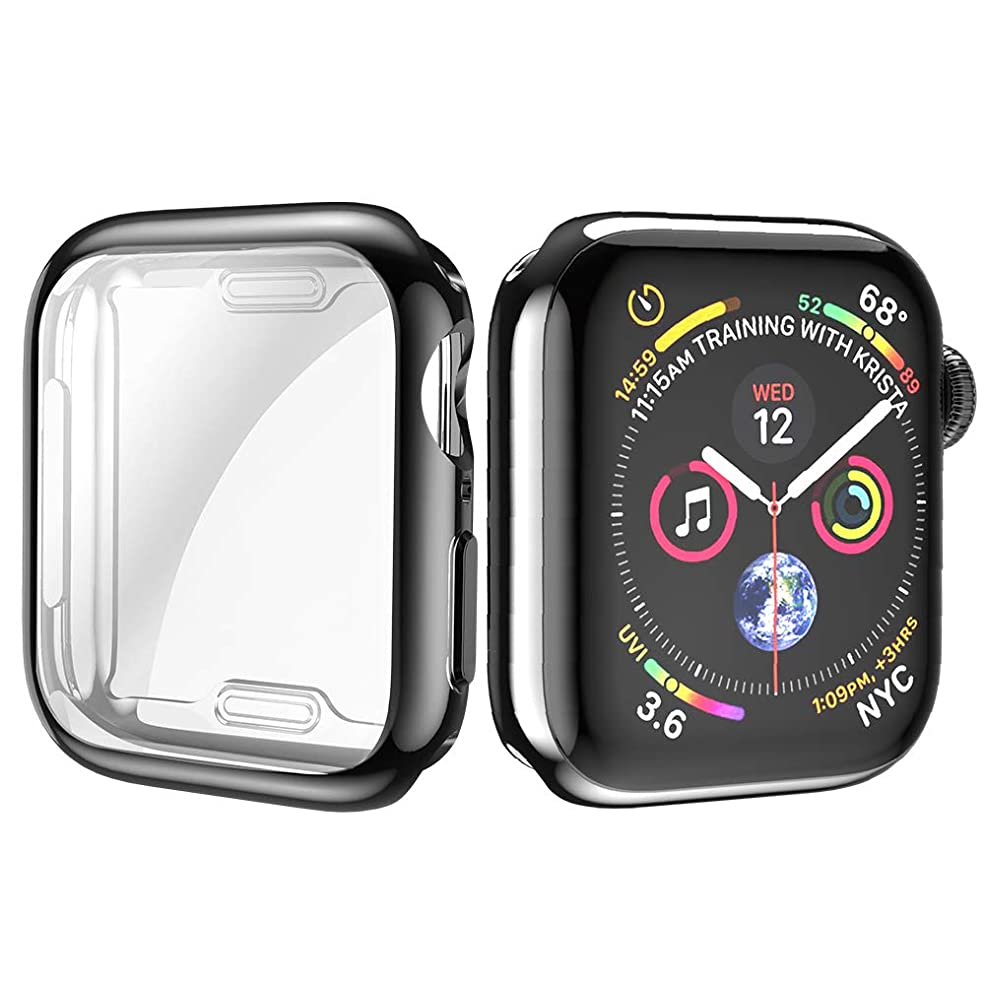 コンサート小川ペットMovone for Apple Watch 5/4 カバー 40mm Apple Watch フルケース TPU素材 メーキ加工 全面保護 アップルウォッチ カバー Apple Watch フィルム 高感度 耐衝撃性 軽量超簿 装着簡単 Apple Watch Series 5/4に対応 (40mm/ブラック)