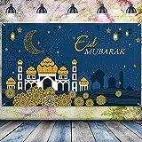 Decoraciones de Ramadán Eid Mubarak, Símbolo de Eid Mubarak de Tela Extra Grande Azul Bandera de Fondo de Musulmán Telón de Fondo de Foto con Cuerda para Fiesta Musulmana, 70,8 x 43,3 Pulgadas