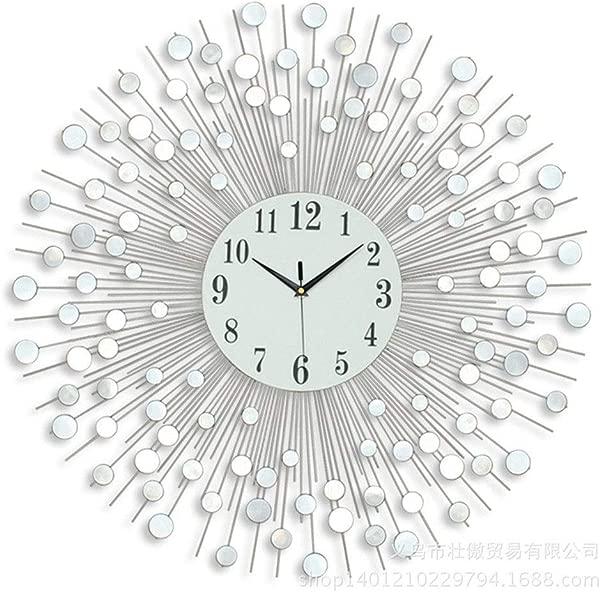 Yuehjnba Wall Clock Wrought Iron Wall Clock European Living Room Home Wall Clock Creative Mirror Quartz Wall Clock Creative Wall Clock Color JT9121Silver