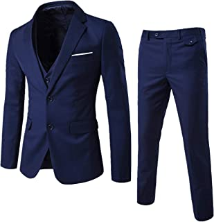 YIMANIE Men's Suit Slim Fit One/Two Button 3 Piece Suits Jacket Vest & Trousers