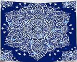 Amiiba - Tapiz de pared, diseño de mandala, color azul