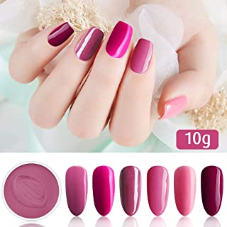 6 Box/Set Fine Dipping Powder Rose Pink Colors No Need Lamp Cure Dip Powder Nails,Like Gel Polish Effect, Even & Smooth Finishing (63-66-87-88-77-91-10g/box)