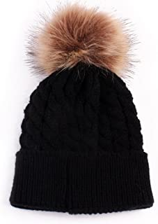 Baby Boys Girls Winter Knit Beanie Parent-Child Raccoon Fur Pom Bobble Hat Family Crochet Ski Cap