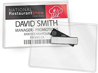 GBC Magnetic Badge Holders, 3 Touch Point Magnet, For Horizontal 4 x 3-Inch Inserts, Clear, 6 Pack (3748103)