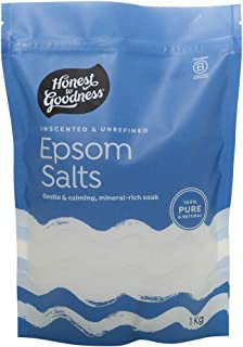 Honest to Goodness Unscented and Unrefined Epsom Salts, Unscented and Unrefined, white, 1 Count (Pack of 1)