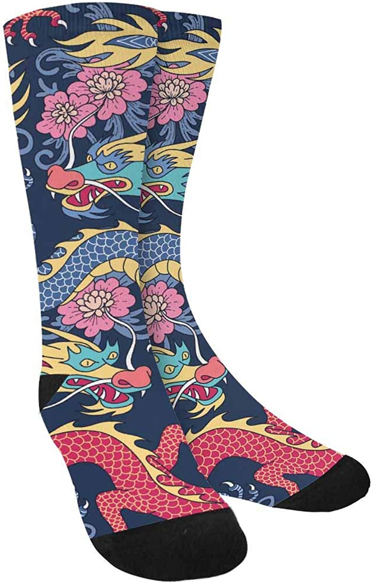 INTERESTPRINT Blue and Red Dragons Fighting in Pink Flowers Outdoor Casual Novelty Custom Socks