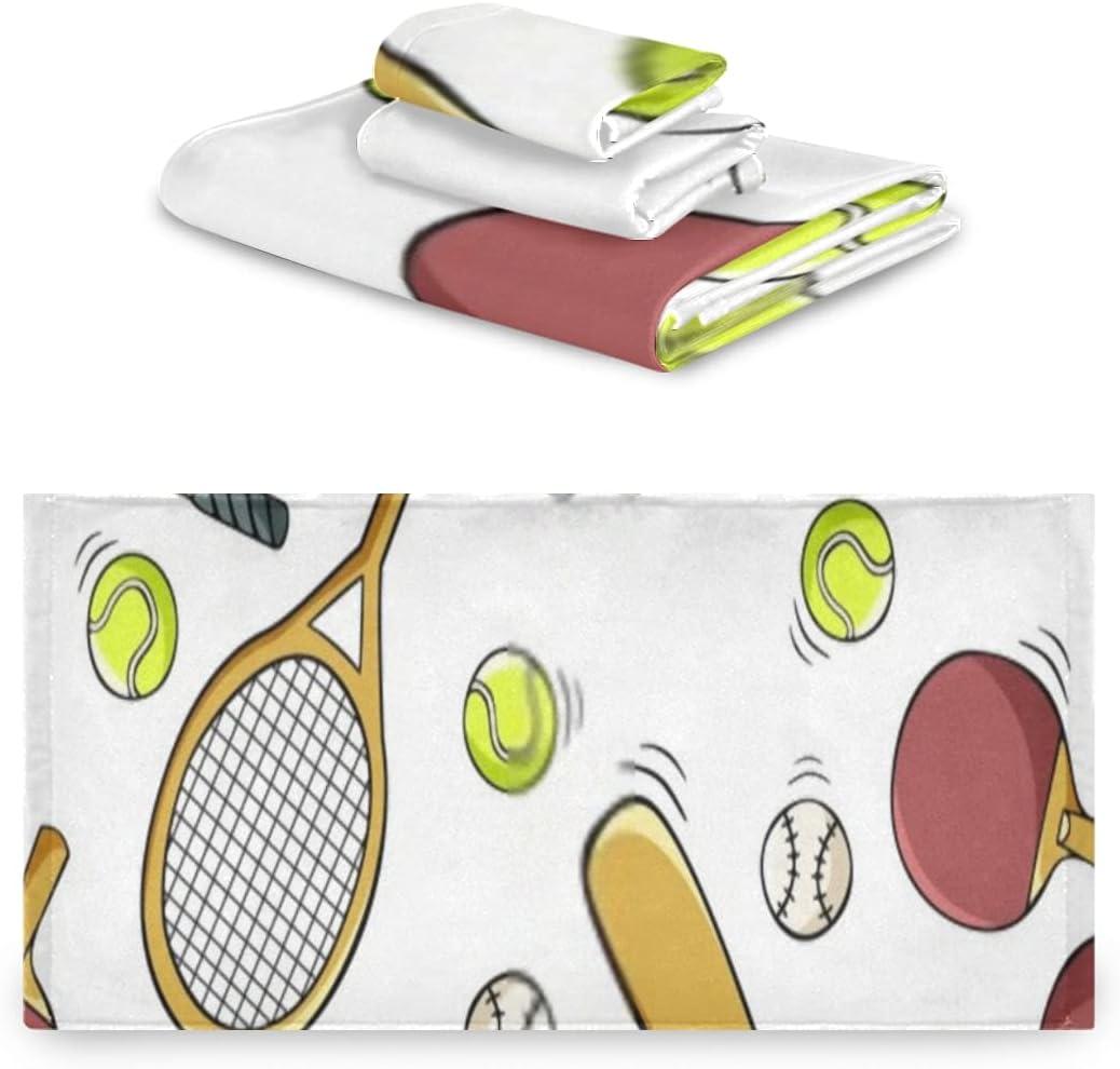 Juego de toallas de 3 piezas, juegos de baño de toalla de ping pong dibujados a mano, 1 toalla de baño, 1 paño, toalla de 1 mano, multifunción suave para el hogar, cocina, hotel, gimnasio, spa de nat
