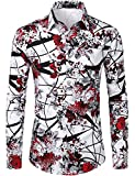 ZEROYAA Men's Hipster Rose Design Casual Slim Fit Long Sleeve Button Down Floral Shirt ZLCL04-105-Burgundy X-Large
