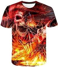 T-shirt met doodshoofd motief met vlam, 3D, schatt...