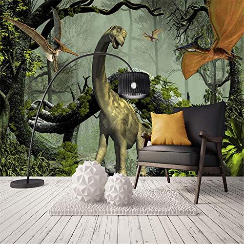 XZDXR Papier peint photo personnalisé 3D stéréoscopique thème de dinosaure peintures murales grande forêt primitive salon chambre décor toile de fond papier peint, 110 * 280CM