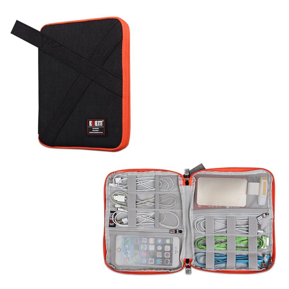 BUBMは美しいDIPデータケーブルバッグポータブルバッグUディスクパッケージワイヤー収納袋ヘッドセットバッグ携帯電源パッケージ多機能デジタルアクセサリー収納バッグ(L(20×24×3CM)、ブラック)