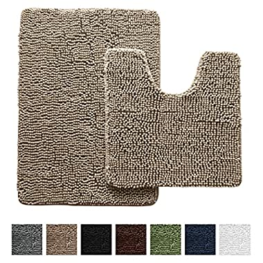 Gorilla Grip Original Shaggy Chenille Bathroom 2 Piece Rug Set Includes Mat Contoured for Toilet and 30 x 20 Carpet, Machine Wash/Dry, Perfect Plush Mats for Tub, Shower, and Bath Room (Beige)