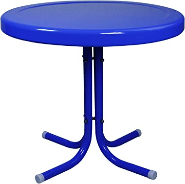Northlight 21.75-Inch Outdoor Retro Metal Tulip Side Table, Blue