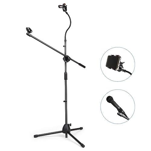 SIMBR Mikrofonständer, Mikrofonstativ mit Galgen und Handyhalter, drehbar, höhenverstellbar Mikrofonhalter mit Adapter für Blue Snowball Yeti, Einziehbares Stativ für einfachen Transport
