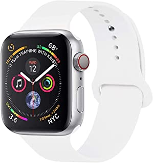wafi Compatible Apple Watch Band 38mm - 40mm , Soft Silicone Sport white