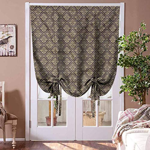 HouseLookHome Roman Shades Blinds Curtain Oriental Window Blind Fabric Curtain Drapery Antique Curly Damask for Windows, Doors Rod Pocket Panel, 48' W x 63' L