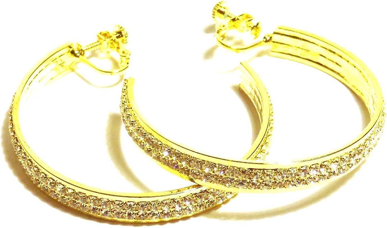Clip-on Earrings Gold Tone Double Crystal Rhinestone Hoop Earrings 2 Inch Hoops Non Pierced Ears
