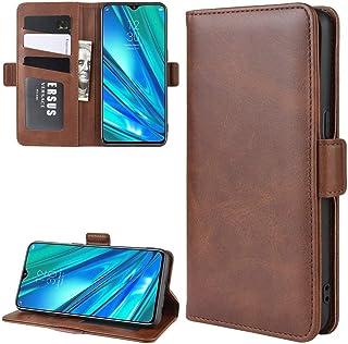 林についてはOPPO Realmeは5のPro / Realme Q財布財布&ホルダー&カードスロット付きレザー携帯電話ケースをスタンド(ブラック) HDJ (Color : Brown)